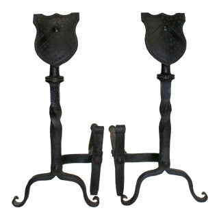 Early 20th Century Wrought Iron Andirons With Shield Form Finials - a Pair For Sale