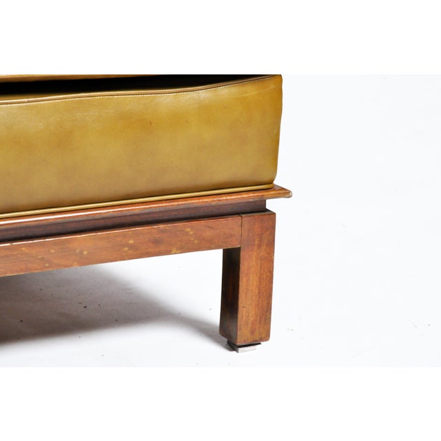 Mid-Century Modern Green Leather Sofa With Hardwood Base by Edward Wormley For Sale - Image 9 of 11
