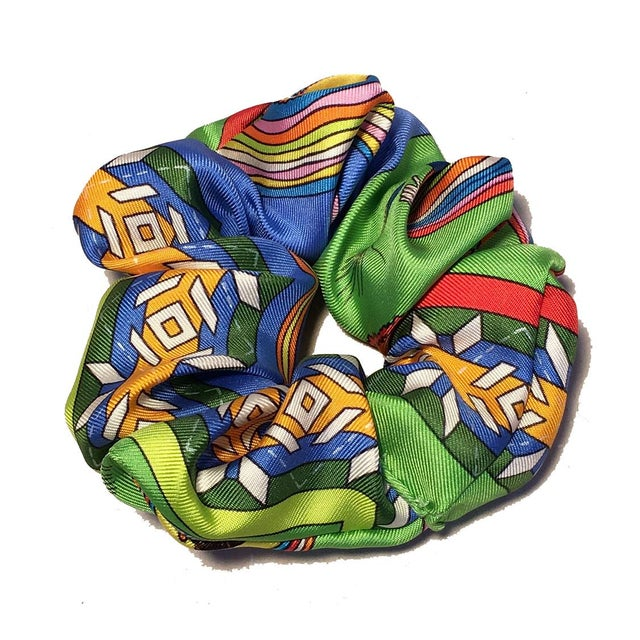 Hermes Handmade Vintage Silk Scarf Scrunchie in Green, Blue and Yellow For Sale - Image 13 of 13