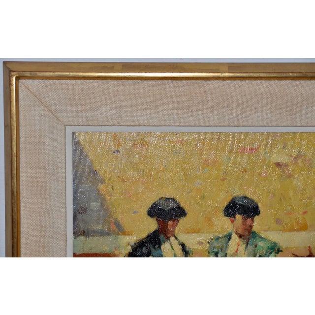 Pink Joan Giralt-Lerin (Spain, 20th C.) Toreador Oil Painting C.1950 For Sale - Image 8 of 10