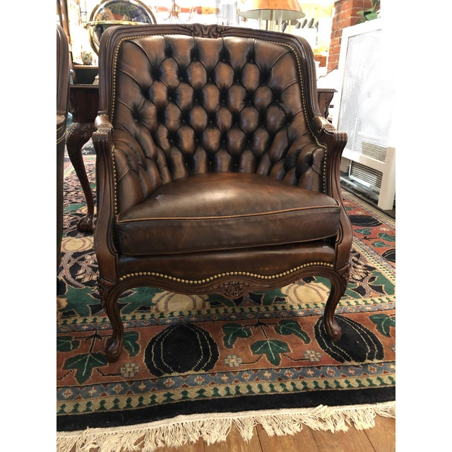 English Tufted Burnished Leather Club Chairs - a Pair For Sale - Image 3 of 13