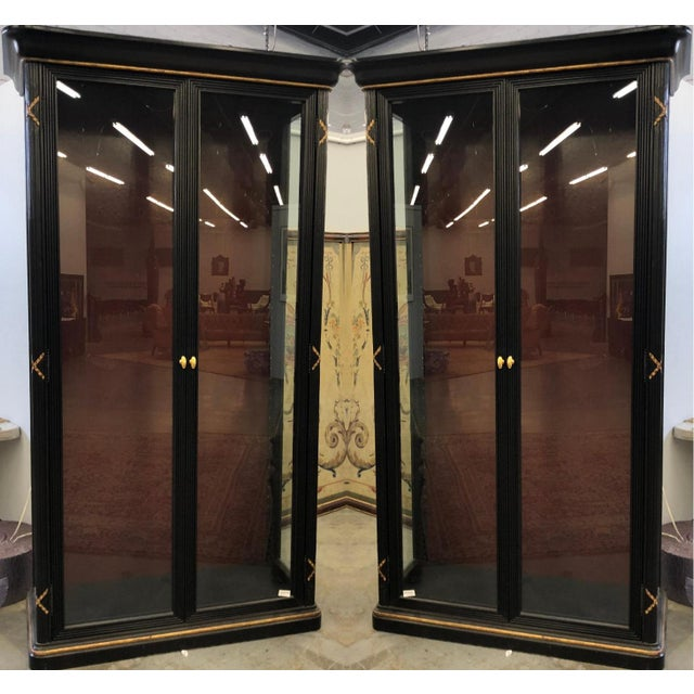 Randolph & Hein Pair of Erika Brunson for Randolph & Hein Black & Gold Vitrine Showcase Cabinet W Red Interior For Sale - Image 4 of 6