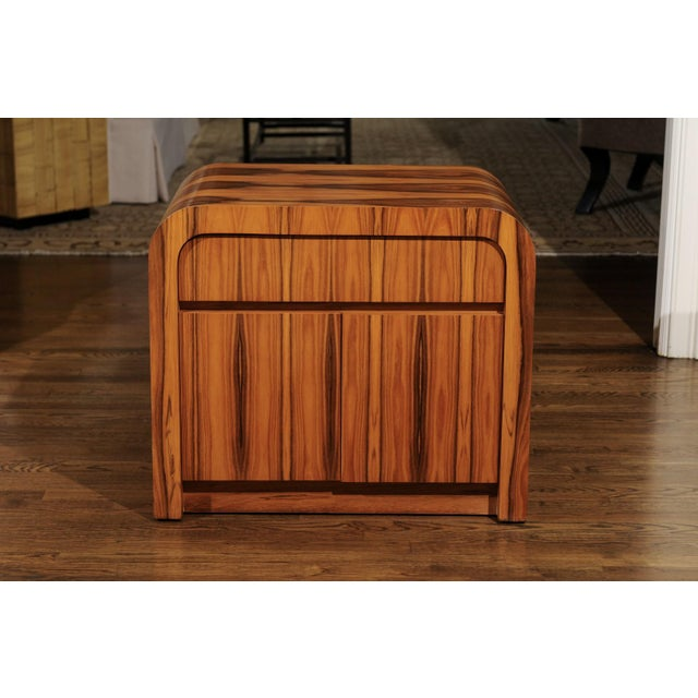 Tan Magnificent Restored Waterfall End Tables in Bookmatched Teak, Circa 1975 For Sale - Image 8 of 13