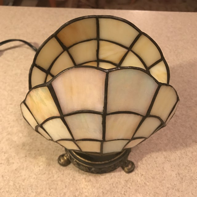 Vintage Stained Glass Clam Shell Lamp - Image 4 of 11