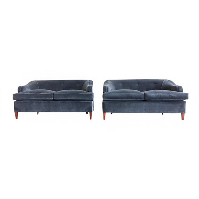 These 1930s Art Deco settees are newly reupholstered in a smoky blue brushed velvet. The fabric is soft and covers new...