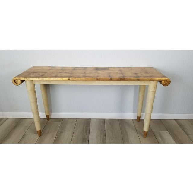 Offered for sale is a vintage/Hollywood Regency style Italian console table. Features, sculptural design, gold leaf top...