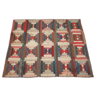 Antique 19th Century Wool Log Cabin Crib Quilt For Sale