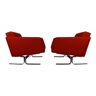 1960s Red Upholstery and Chrome Lounge Chairs - a Pair For Sale