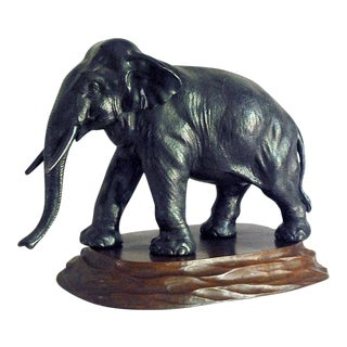 1940s Cast Metal Elephant Sculpture For Sale