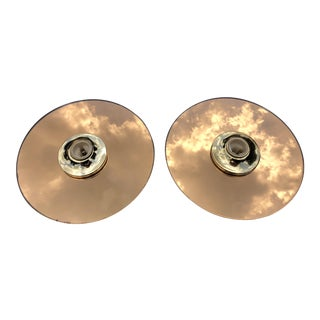 1970s Industrial Bronze Mirror Wall Sconces - a Pair