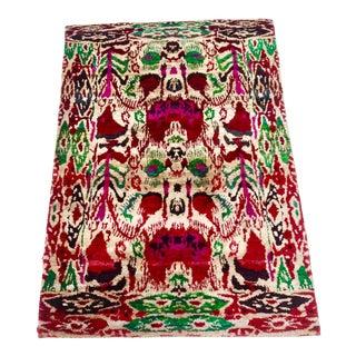 "Vintage Silk ""Sari"" Ikat Rug - 4' x 6'4"""