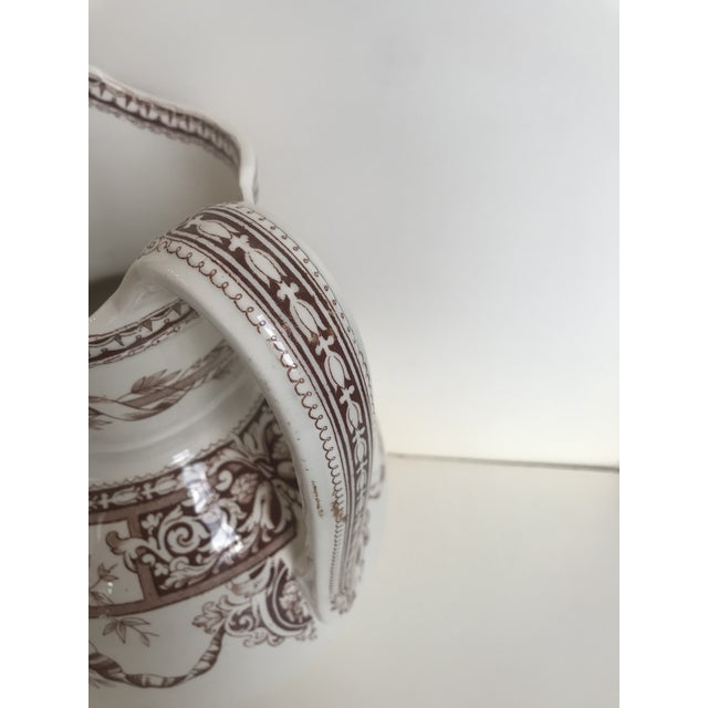 Mid 19th Century 19th Century Large Scale Floral Ribbon English Ironstone Pitcher For Sale - Image 5 of 8