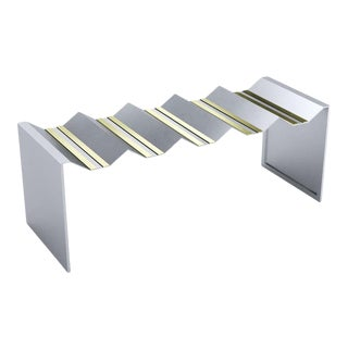 Modern Brass Metal and Stainless Steel Decorative Bench For Sale