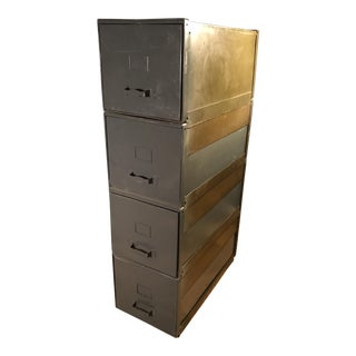 Steel Stackable Industrial Age File Cabinets - Set of 4 For Sale