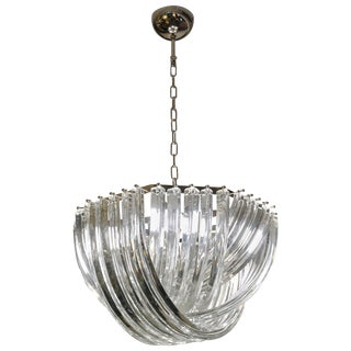 Contemporary Italian Minimalist Curved Crystal Murano Glass Chrome Chandelier For Sale