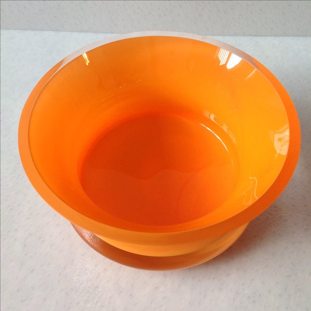 Bright Orange Czech Glass Console Bowl - Image 3 of 5