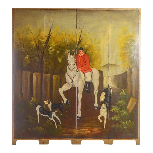 Late 20th Century Painted Wood Four-Panel Hunting Scene Room Divider For Sale