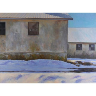 """Winter Reflections"" Contemporary Realist Style Architectural Winter Landscape Oil Painting For Sale"