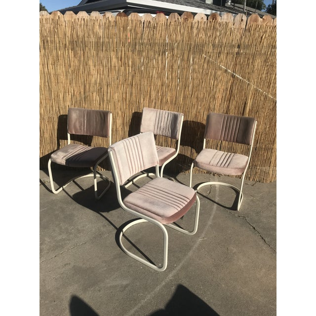 Set of 4 Marcel Breuer by Knoll Pink Dining Chairs. In good vintage condition. Shipping rates can change I will shop for...