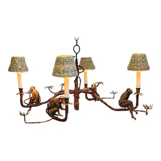 Monkey Motife Faux Bois Chandelier For Sale