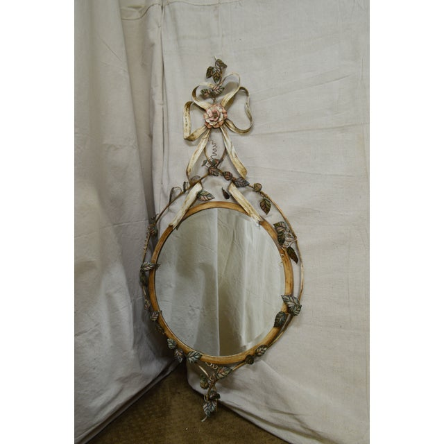LaBarge Italian Floral Hand Painted Tole Metal Beveled Wall Mirror For Sale - Image 9 of 13