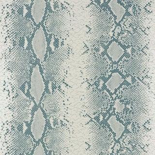 Schumacher Snake Charmer Wallpaper in Mineral For Sale
