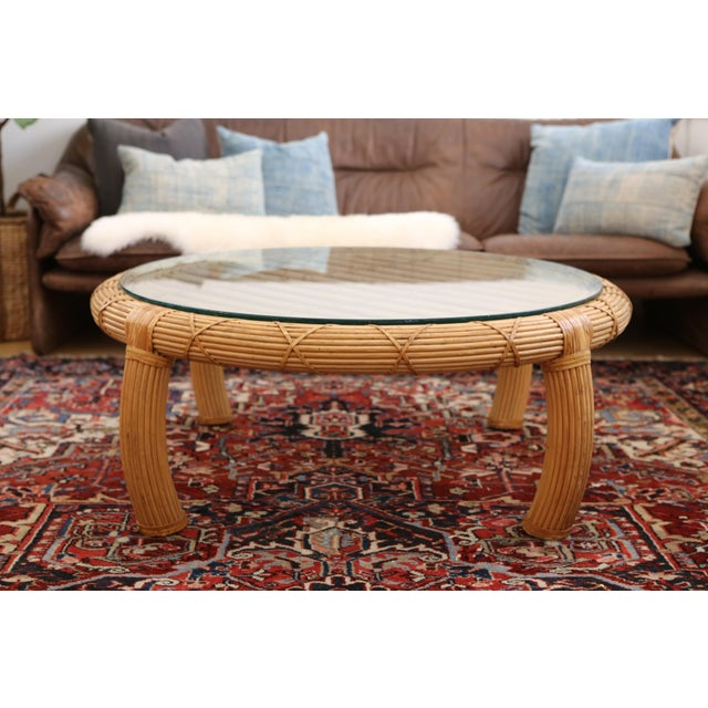 Gabriella Crespi Style Rattan & Bamboo Pencil Reed Coffee Table - Image 2 of 10