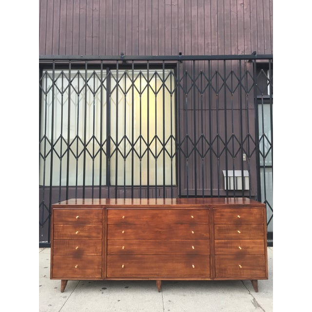 Mid Century Lowboy With Dotted Brass Knobs For Sale - Image 12 of 13