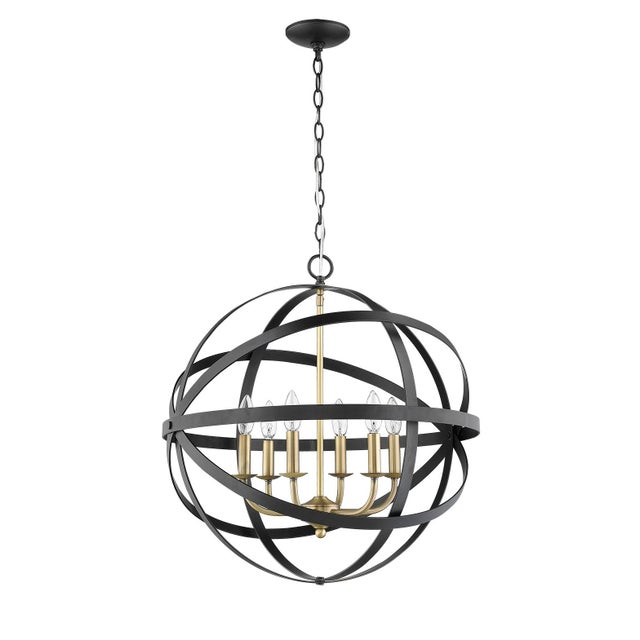 The Orbit 6 Light Chandelier, Matte Black and Antique Brass For Sale - Image 4 of 5