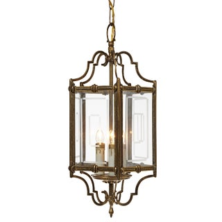 Early 20th Century Traditional Triple Cluster Brass and Glass Panel Light Pendant