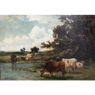 Large Antique Landscape With Cattle Watering Oil Painting Preview