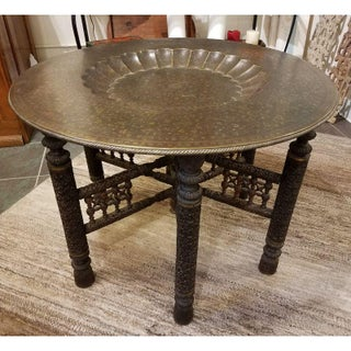 Anglo-Indian Engraved Round Brass Tray Coffee Table on Carved Wooden Stand Preview