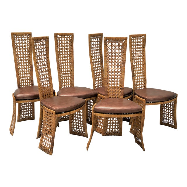 Mid-Century Modern Danny Ho Fong Dining Chairs Rattan Caning - Set of 6 For Sale