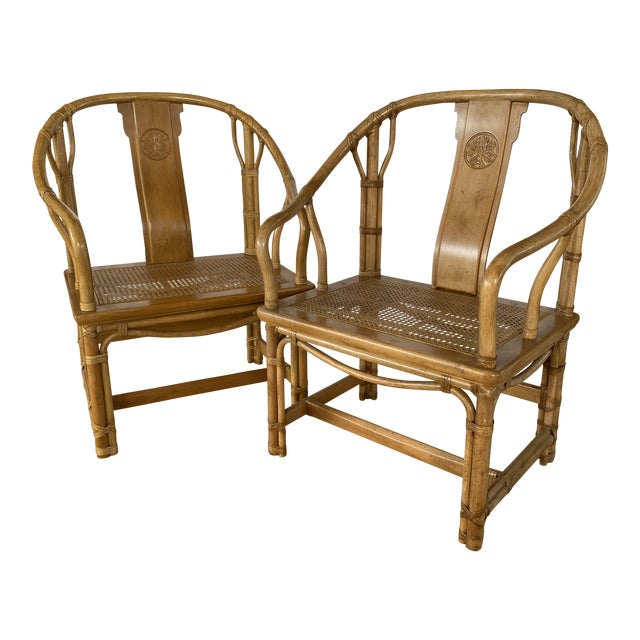 Henredon Ming Rattan Chairs - a Pair For Sale