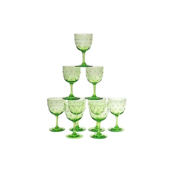 Antique Victorian Uranium Wine Stems W/ Stars - Set of 9 For Sale