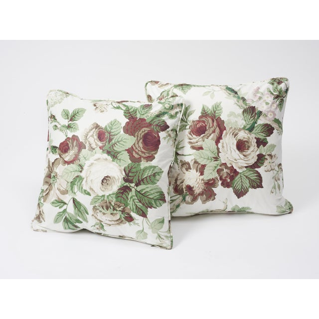 Schumacher Double-Sided Pillow in Nancy Glazed Cotton Print For Sale In New York - Image 6 of 8