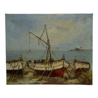 "Late 20th Century Vintage ""Boats"" Canvas Painting For Sale"