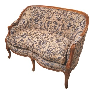 Louis XV Style French Fruitwood Loveseat Upolstered in Blue and Beige Fortuny Corone Fabric For Sale