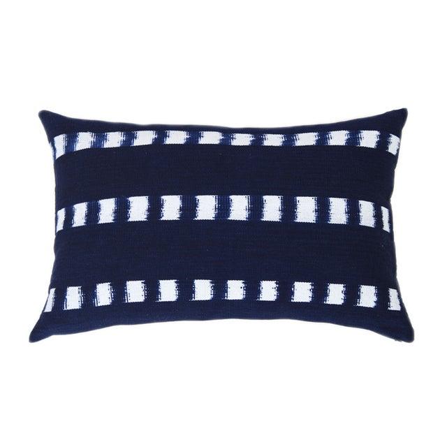 Guatemalan Striped Indigo Handwoven Pillow - Image 1 of 7