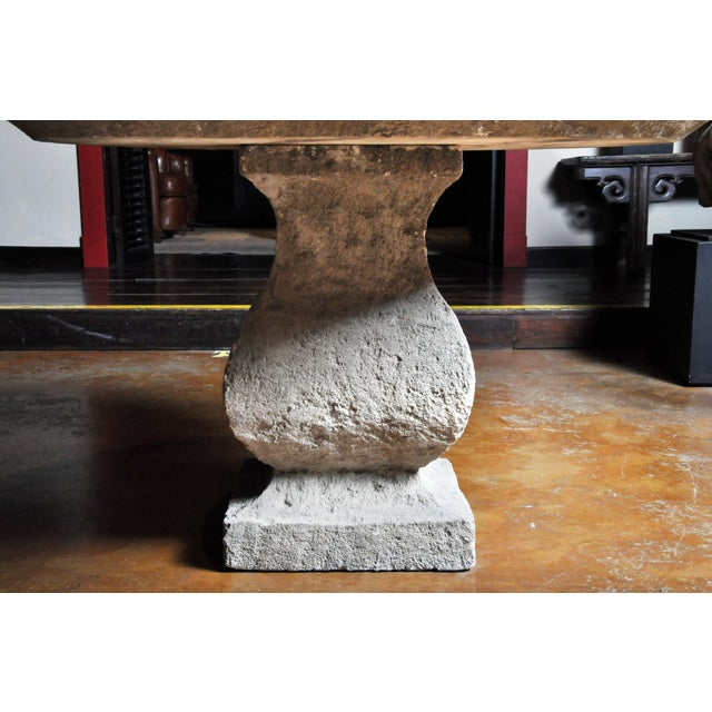 Gray 19th Century Limestone Garden Table For Sale - Image 8 of 13