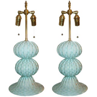 Pair of Murano, Handblown, Sphere Lamps For Sale