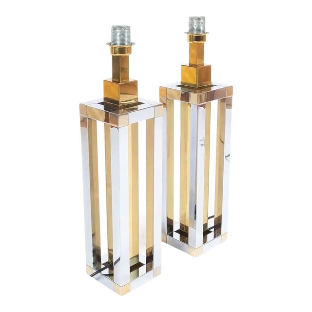 Pair of Chrome and Brass Table Lamps by Romeo Rega For Sale