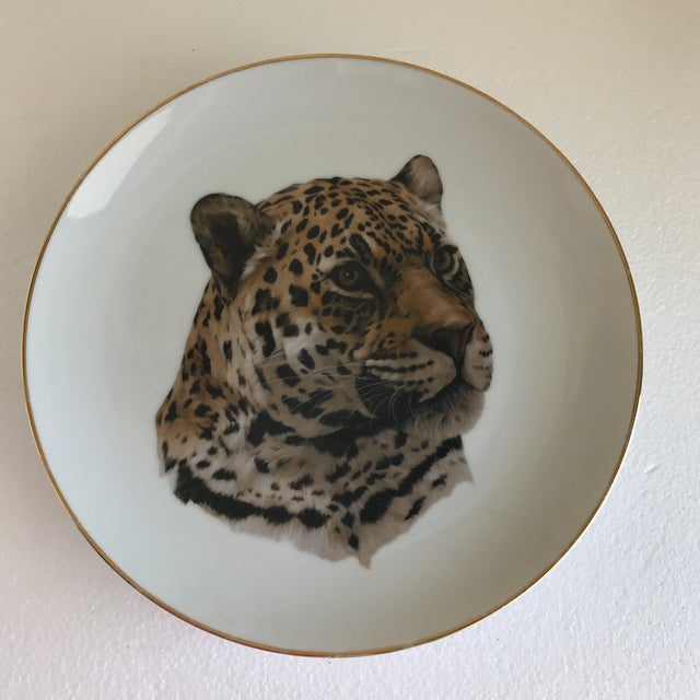1980s Vintage Handcrafted Lion Cougar Plates, Set of Four For Sale - Image 5 of 10