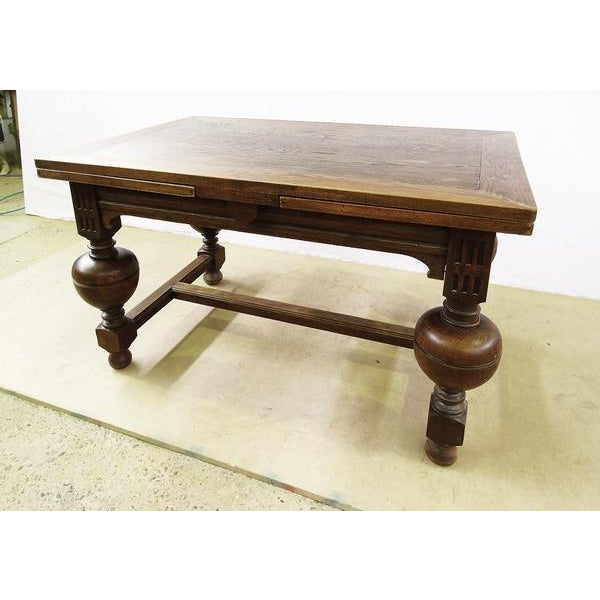 Brown Extending Antique French Solid Oak Jacobean Style Dining Table For Sale - Image 8 of 13