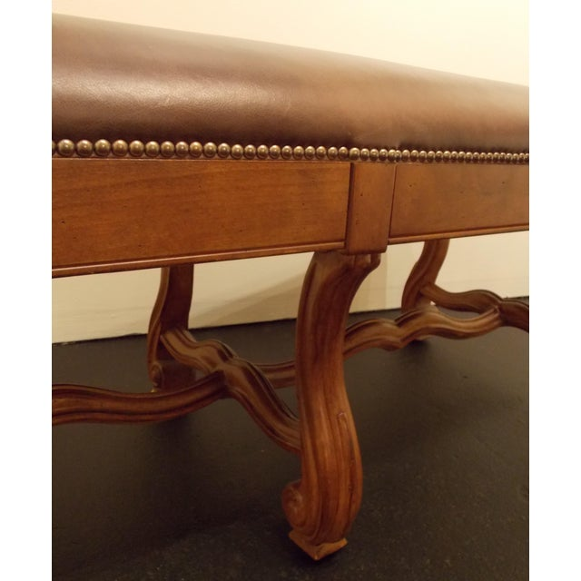 Wood and Leather Bench - Image 7 of 8