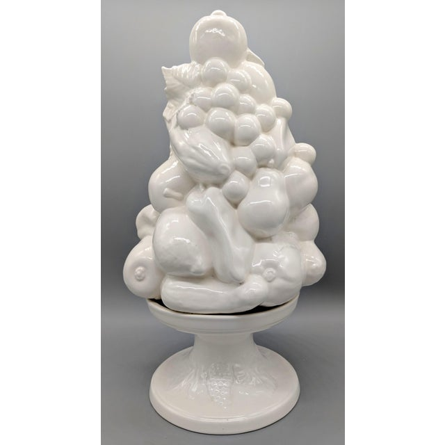 Large 1967 Vintage White Fruit Basket Topiary Centerpiece For Sale In Houston - Image 6 of 13