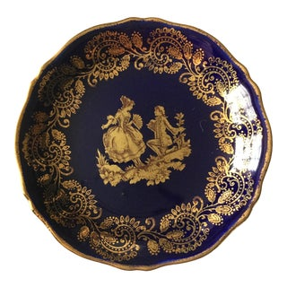 1960s Blue and Gold Limoge Dish For Sale