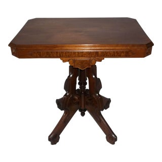 Late 19th Century Victorian Eastlake Burled Walnut Table For Sale