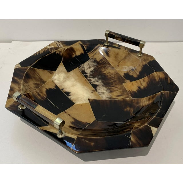 Brown Vintage Octagonal Tessellated Horn Serving Bowl With Handles For Sale - Image 8 of 13