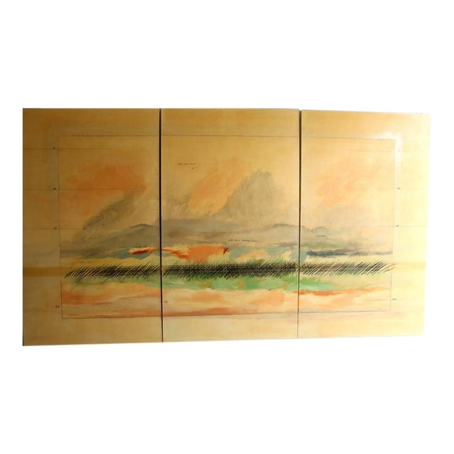 Large Scale Oil on Canvas Impressionist Landscape Triptic by Robert Savoie For Sale